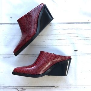 rag & Bone Santiago Red Leather Mules snakeskin